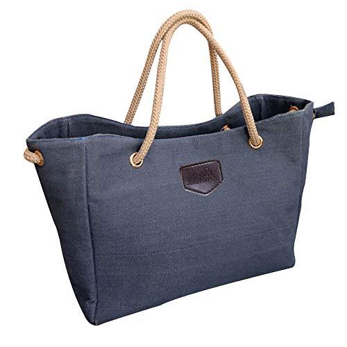 Tohole Damen Tragetasche FüR Aus Leinwand Schultertasche Tasche Frauen Stilvolle Handtasche Strand Tasche Tragetaschen Handbag (blau)