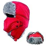 AYAMAYA Wintermütze Fliegermütze für Herren Damen, Warm Fellmützemit Ohrenklappen Klassische Trappermütze Russische Mütze (Rot)