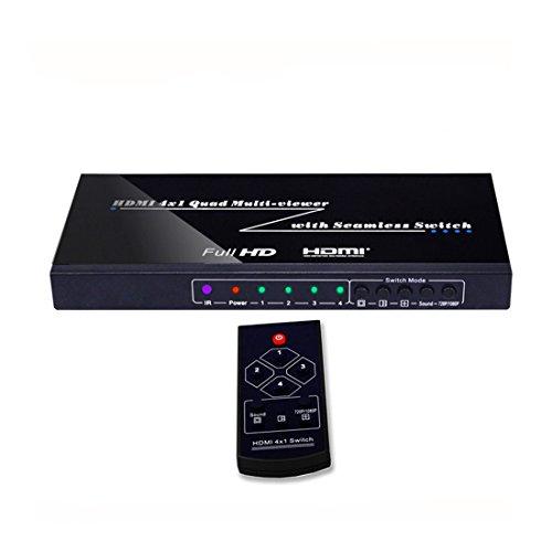 HDMI Multiviewer 4X1 Quad Multi-Viewer Splitter mit Nahtloser Switcher IR-Steuerung Ausgabeauflösung bis zu 1080p Quad Switcher