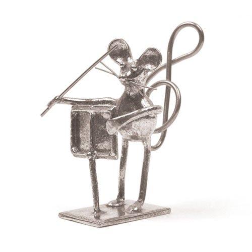 Souris Chef d'Orchestre Miniature - Porte-Photo - Etain 95,5% - Fabriqué en France - Objet déco - Cadeau musique