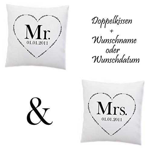 Doppelkissen Kissen 'Mr and Mrs' + Namen oder Datum Personalisiert / Name / Pärchen / Hochzeit / Jahrestag , Design:Design 2, Kissen:Premiumkissen (Puzzle Wählen Datum Ein Sie)