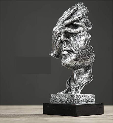 WWBB Schweigen ist Gold,Abstrakte skulptur Statue,Einfache Handarbeit Kunst denkender Mensch,Nordische skulptur,Retro-büro Wohnzimmer Dekoration,Silber-L 12.5x13x34cm(5x5x13inch)