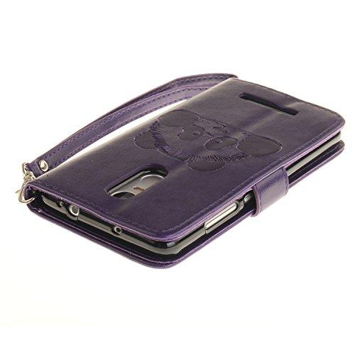 Leather Case Cover Custodia per Asus ZenFone 2 ZE551ML ,Ecoway Caso / copertura / telefono Panda goffratura Disegno retro della del modello PU con a Bookstyle tasche carte di credito funzione con inte Viola