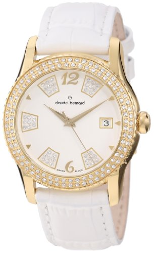 Claude Bernard Women's 61163 37JP BD Ladies Fashion Gold PVD Swarovski White Leather Watch