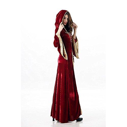 Mittelalterliches Burgfräulein Kostüm Rot/Gold in Deluxe-Ausführung Gr. XS/S Kleid - 5
