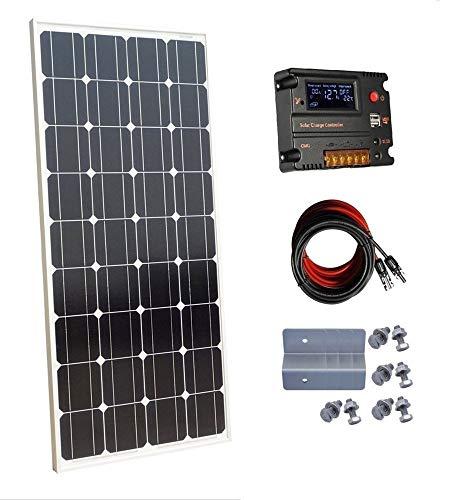 El paquete incluye: 1. 1 x 100W 18V mono panel solar con conector MC4 2. 1 kit de montaje con 4 cremalleras. 3. 1 x 10 A controlador solar 4. 1 par MC4 con 5 metros de cable solar de 4 mm2extensión (5 m rojo y 5 m negro). Especificaciones del panel s...