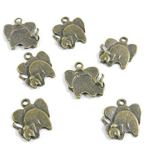 K04957 - Abalorio de bronce envejecido con diseño de elefantes antique bronze