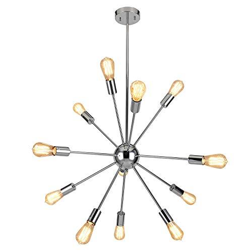 Encoft sputnik lampadario moderno lusso lampada a sospensione 12 luci base e27 soggiorno camera da letto, cromo senza lampadina