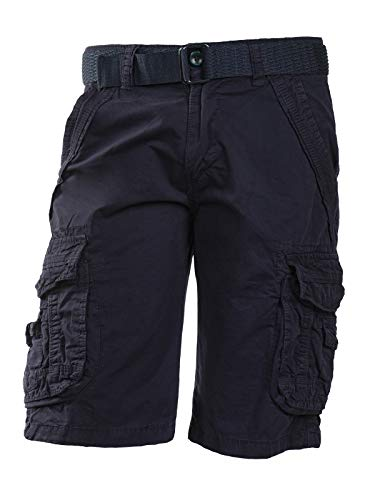 Trisens Herrenshorts Baumwolle Bermuda Cargo mit Gürtel, Farbe:Dunkelblau, Größe:38/XL - Strand Bermuda Shorts