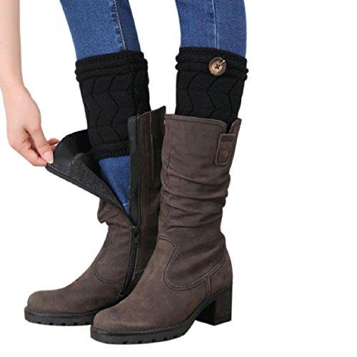 OverDose Winter Damen Verdrehte Buckle kurzer Punkt Beinlinge Socken Stiefel Abdeckung (15cm, Schwarz) (Tank-top Skort Rock)