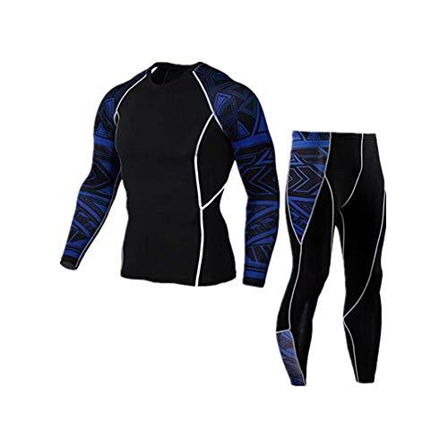 Blau Camo Camouflage T-shirt Top (Morbuy Fitness Sportanzug Herren, 2 Stück Funktionsshirt Tights Schnell Trocknend Kompressions T Shirt & Kompressions Leggings Bekleidung (XXXL, Blauer Ärmelanzug))