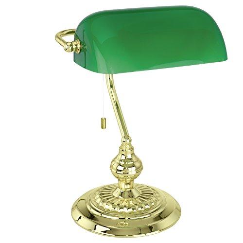 1 Licht Banker Lampe (EGLO Tischleuchte Modell Banker / 1 Ms-Glänzend mit Glas, grün 90967 E)