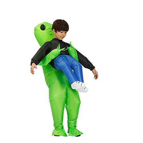 TVOQ Spooktacular Creations Aufblasbares Kostüm Air Deluxe Aufblasbarer Alien Reiter Kostüme Für Erwachsene Oder Kinder-Halloween-Kostüm Cosplay (Deluxe Alien Kostüm)