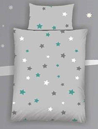 Baby Bettwäsche Sterne / Stars grau Baumwolle 100 x 135 cm & 40 x 60 cm mit Reißverschluss (petrol) (Baumwolle Sterne 100%)