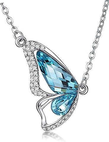 LUXURY – Collier pour femme et pendentif modèle FARFALLA avec des cristaux autrichiens. Idée de (18k Oro Bianco Della Collana Di Diamante Solitario)