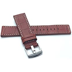28mm, Tan Genuine Leather Watch Band Strap, White Stitching, Also comes in Black and Brown