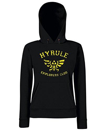 T-Shirtshock - Sweats a capuche Femme TGAM0037 Hyrule Explorers Club Dark Noir