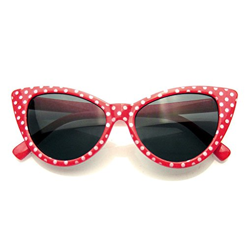 Polka Dot Gato Ojo Mujeres Mod Super Gato Gafas De Sol Moda (Rojo)