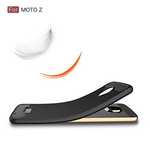 YHUISEN Moto Z Case, Ultra Light Carbon Fiber Rüstung ShockProof gebürstetem Silikon Griff Case für Motorola Moto Z ( Color : Red ) Navy