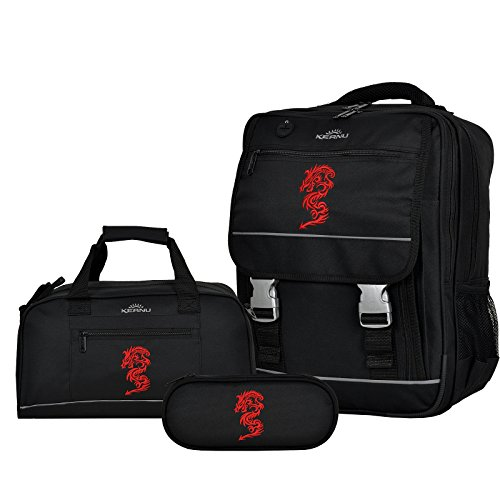 Keanu Bolso escolares, rojo (Red Dragon) (negro) - 10042