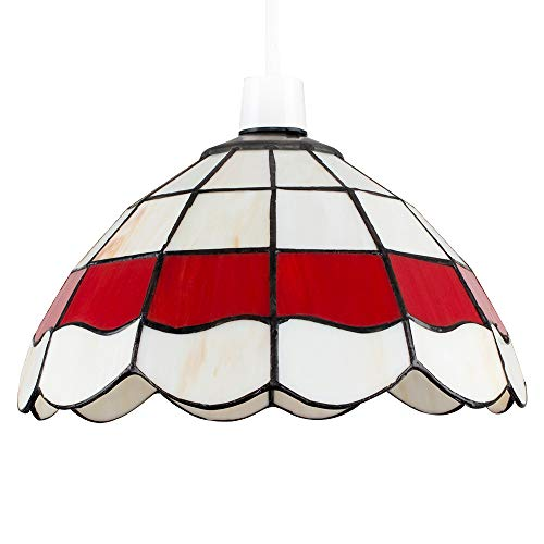 MiniSun - Maravillosa pantalla de lámpara de techo de estilo 'Louis Comfort Tiffany' - vintage en colores crema y rojo