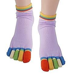 vepson Non Slip 1 Pair Five Toe Rubber Yoga Pilates Fitness Socks