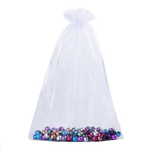 HooAMI Blanc Sachets Pochettes Cadeau en Organza pour Mariage ou Partie 20cm x30cm-25pcs