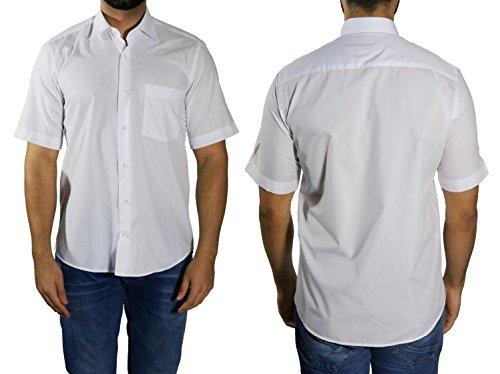 MUGA Homme Chemise à manches court, légèrement cintrée Blanc