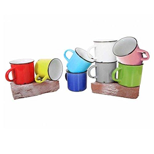 Tony Brown | Kaffee - Teetasse | Kaffeebecher | Uni Farben | Emaille Optik | Porzellan Tasse | Used Look (rot, 500ml 6er Set)