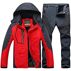 Qitun Hombre De Trekking Impermeable Transpirable Pantalones Chaqueta Deportivos
