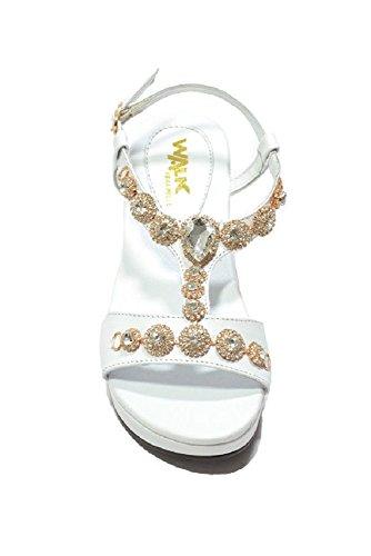 Melluso Walk K80061, Sandalo Donna con Zeppa e Applicazioni di Brillanti Bianco