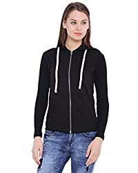Campus Sutra Womens Black Zipper Jacket(AW16_ZHTSLV_W_PLN_BL_XL)