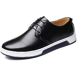 Zapatos de Cuero Hombre, Oxford con Cordones Brogue Vestir Derby Informal Negocios Boda Calzado Respirable Negro-1 40