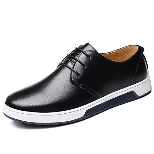 Zapatos de Cuero Hombre, Oxford con Cordones Brogue Vestir Derby Informal Negocios Boda Calzado Respirable Negro-1 47
