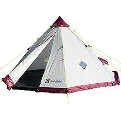 Skandika Tippi 200 - Tente Tipi Indien - 6 personnes - Hauteur 2m Diamètre 3m60 - Beige/Bordeaux