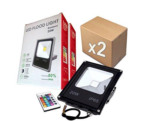PACK 2 FOCOS PROYECTORES LED RGB 20W con Mando Remoto - Excl..