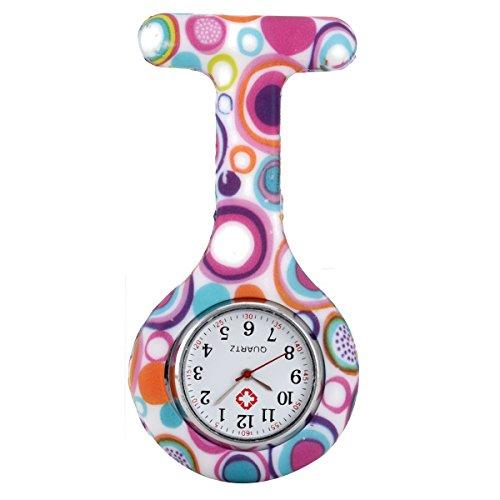 Relojes de bolsillo,SEARCHALL Reloj de enfermera de cuarzo de cuarzo redondo de silicona