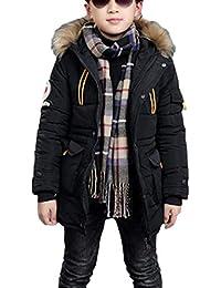 Jungen Jacke Mantel Warm Lang Parka Winterjacke Kunstfell Kapuzen Outwear Wintermantel Oberbekleidung
