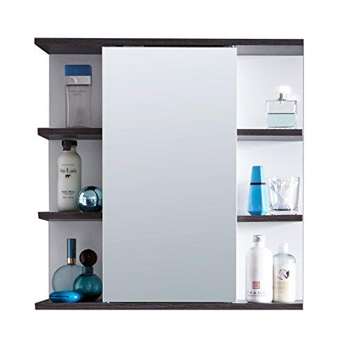 Trendteam Badezimmer Spiegelschrank Spiegel California, 60 x 60 x 20 cm in Weiß, Absetzung Rauchsilber mit Viel Stauraum und Offenen Fächern