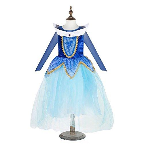Superstar88 Prinzessin Kostüm Kinder Glanz Kleid Mädchen Weihnachten Verkleidung Fest Grimms Märchen Kostüm Cosplay Traumhaftes Prinzessinnen Kleid (Blau, Etikett 130 für Höhe (Tutu Herzen Kostüm Königin Der)