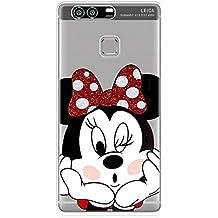 P9 TPU Funda Gel Transparente Carcasa Case Bumper de Impactos y Anti-Arañazos Espalda Cover, Glitter Special Colección Collection, Disney Minnie Mouse, Huawei P9