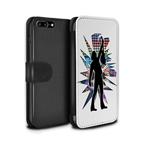 Stuff4 Coque/Etui/Housse Cuir PU Case/Cover pour Apple iPhone 7 Plus / étendre Noir Design / Rock Star Pose Collection Atteindre Blanc