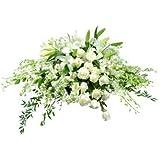 Centro funerario de flor natural blanco + cinta con dedicatoria personalizada, entrega urgente en tanatorio y velatorio