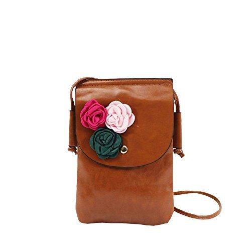Haute für Diva S Damen NEU Kunstleder Textil Blumen Dekoration klein Umhängetasche Phone Tasche - Kaffee, Small Braun