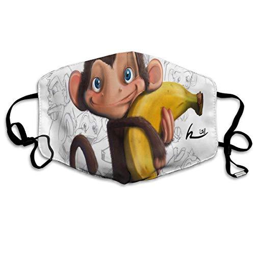 Reusable Mund Maske, Face Mask, Face Mask Monkey Great Cycling Half Face Earloop Mund Maske for Woman (Monkey Face Mask)