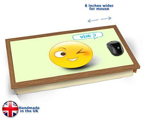 Wink Emoticon Emoji Cushioned Bean Bag Laptop Lap Tray Desk - Built-in EMF Shield (Electro Magnetic...