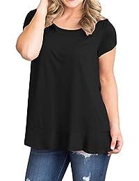 Manga Corta Escote Redondo Bajo de Volante Volantes Aplicación de Encaje  Back T-Shirt Camiseta 9627e255abb23
