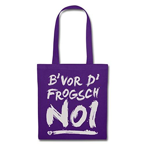 Spreadshirt Schwoba B'Vor D'Frogsch Schwäbischer Dialekt Stoffbeutel Lila