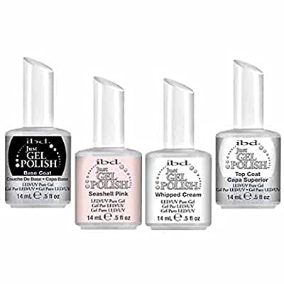 IBD just Gel uv/led Gel Polish - FRENCH MANICURE - TOP/BASE/WHIPPED/SEASHELL 4 x 14ml - New Genuine