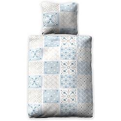 jilda-tex Seersucker Bettwäsche Tiles 100% Baumwolle Sommerbettwäsche Verschiedene Farben/Größen (135 x 200 cm, Blau)